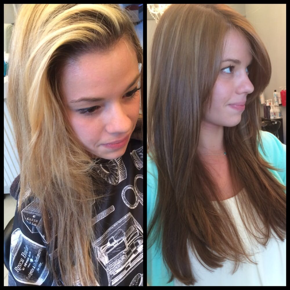 Softer darker warm all over color with subtle highlights/long layers ...