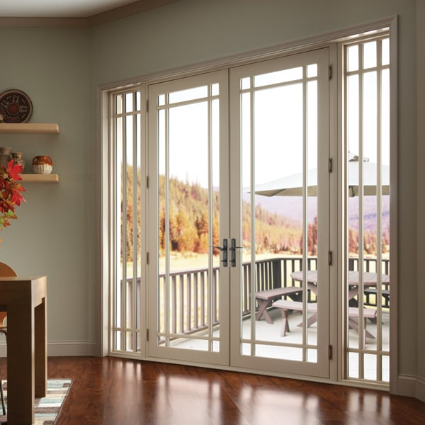 Vinyl french doors with sidelights and marginal grids yelp - Exterior french doors with sidelights ...