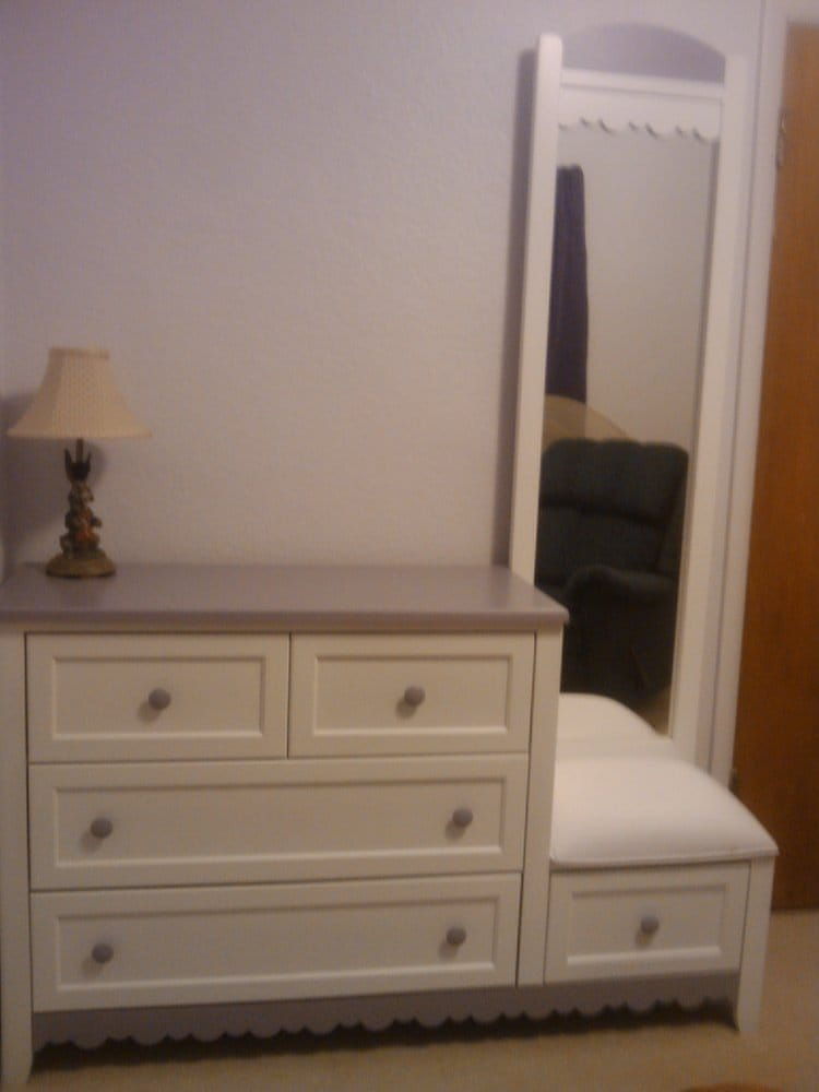 Sweet little dresser with mirror and padded seat yelp for All american furniture warehouse