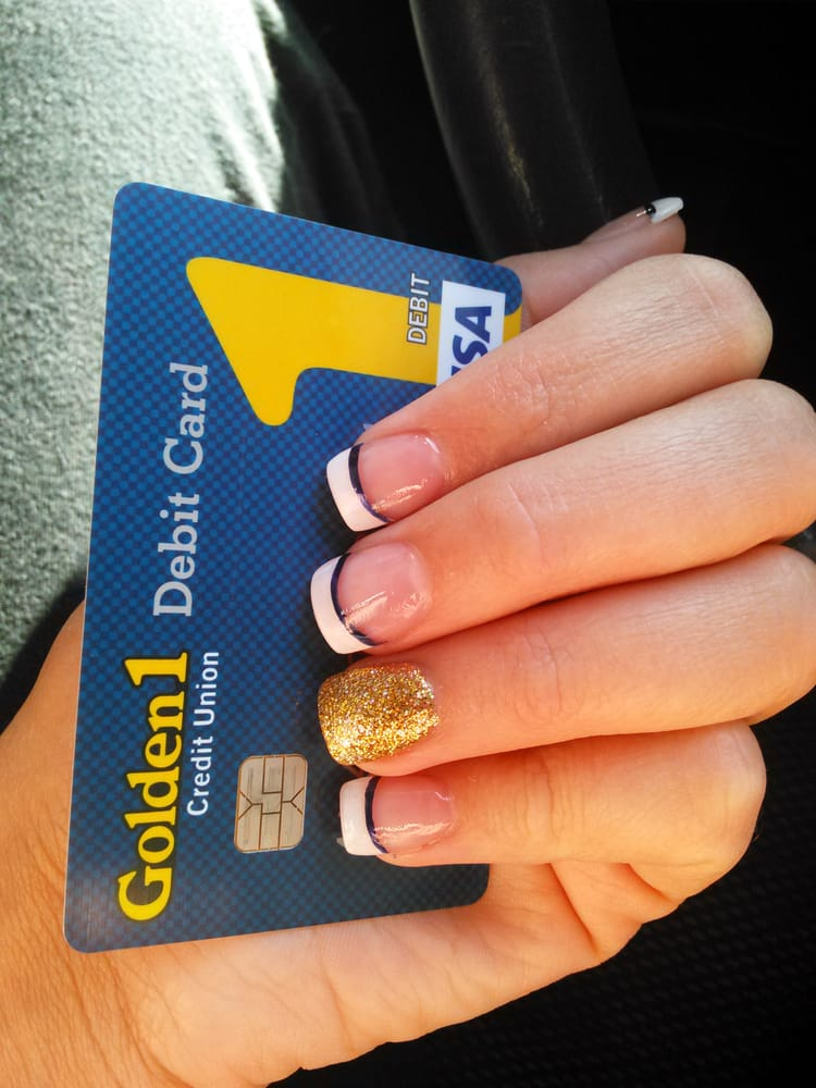 Exactly what I wanted. One gold nail--the rest french tip with navy ...
