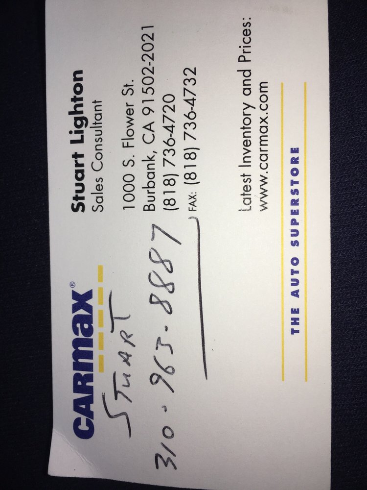 Stuart business card yelp photo of carmax burbank ca united states stuart business card reheart Images