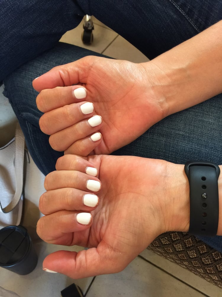 Beautiful nails done by Lulu white with rose gold tip best place to ...