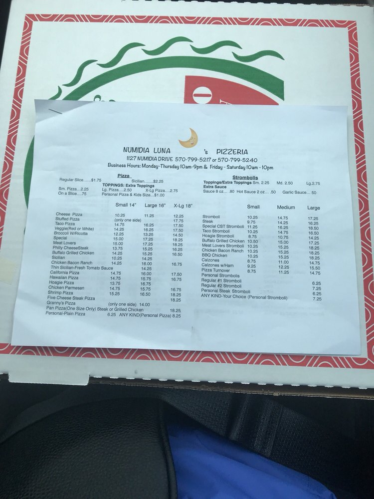 Numidia Lunas Pizzeria: 1127 Numidia Dr, Catawissa, PA