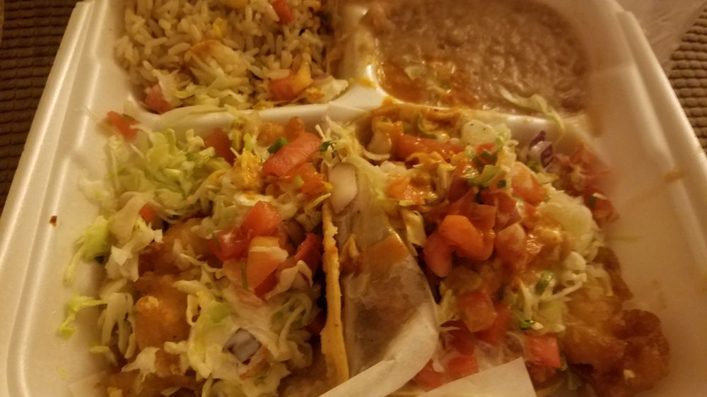 3 Plate One Shrimp And One Fish Taco With Rice And Beans