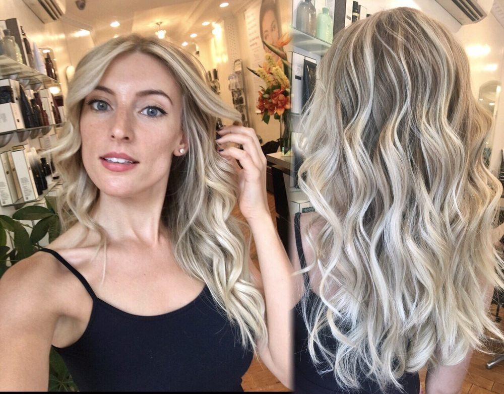 Platinum blonde balayage using olaplex done maria yelp for Deavita salon