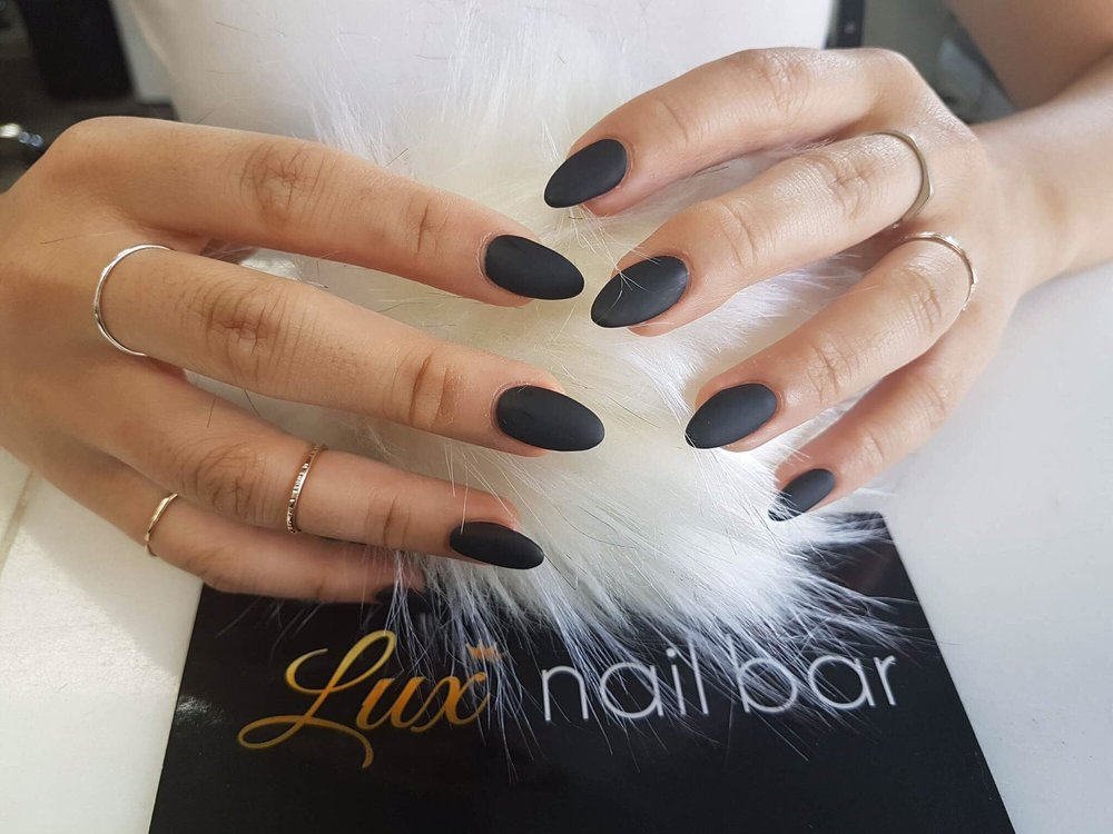 Almond shape matte black nails! - Yelp