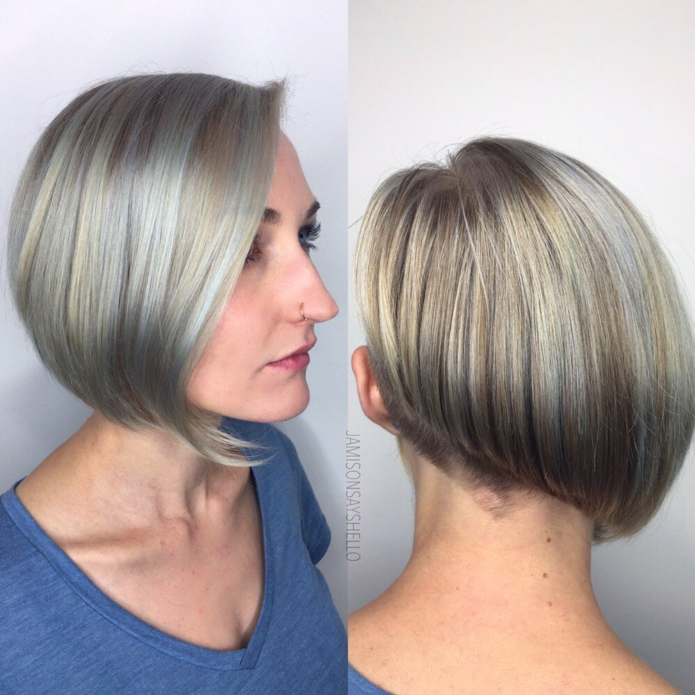 Silver Highlights On A Natural Blonde And Creative Cut By Jamie