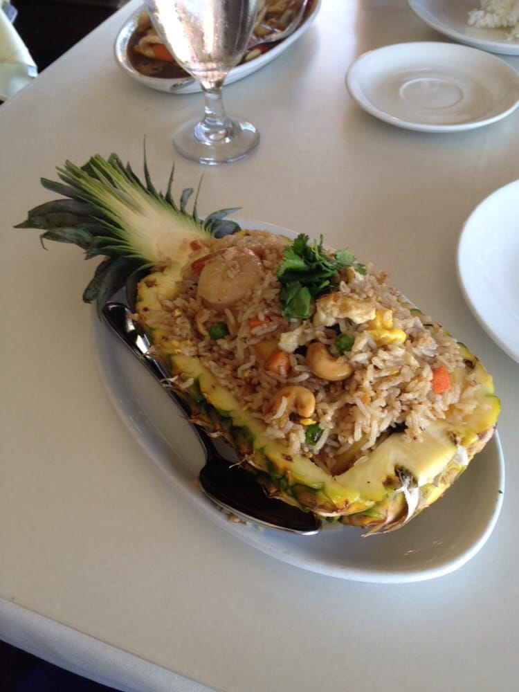Fried rice served in a pineapple how fun yelp for Amarin thai cuisine menu