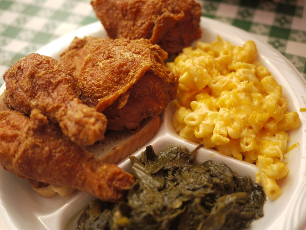Photo of Gus's World Famous Fried Chicken - Austin, TX, United States. Special on Friday, July 24: 4 pieces of dark fried chicken, subbed coleslaw and beans with collard greens and mac 'n' cheese