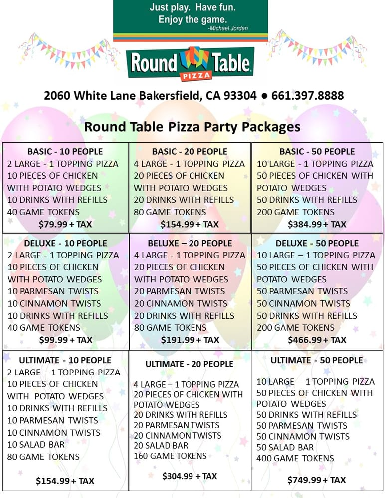 Round Table Pizza Winnemucca.Round Table Pizza Party Deoverslag