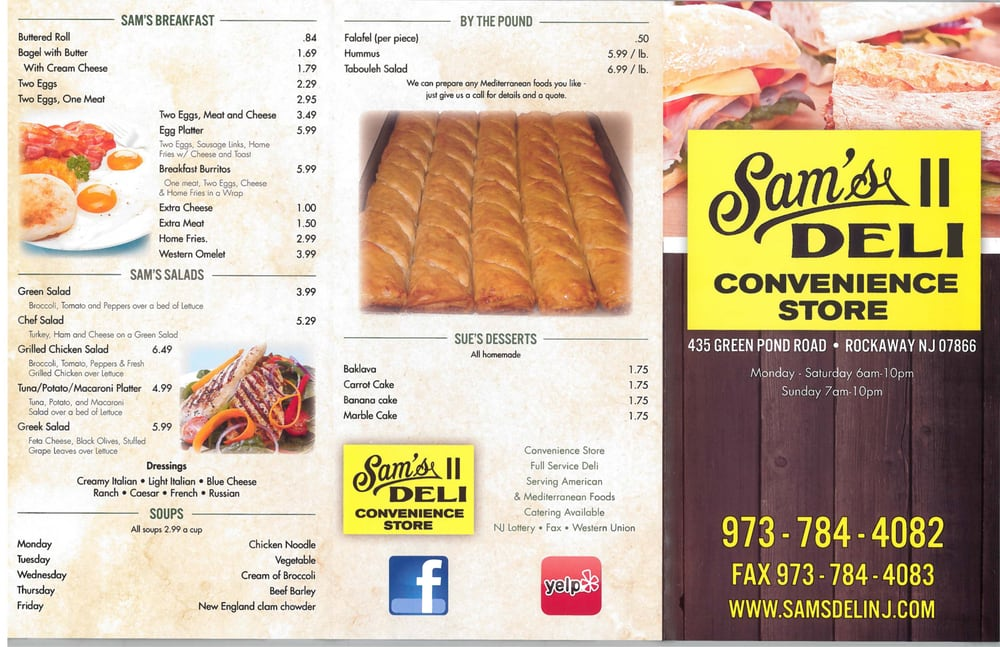 Rockaway (NJ) United States  city images : Photo of Sam's Deli 2 Rockaway, NJ, United States. Menu Side 1