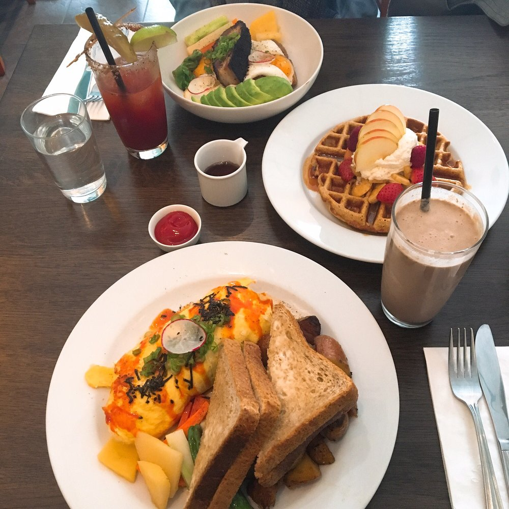 ... Fried Chicken Omelette, waffle, Coffee Crusted Pork Belly Hash