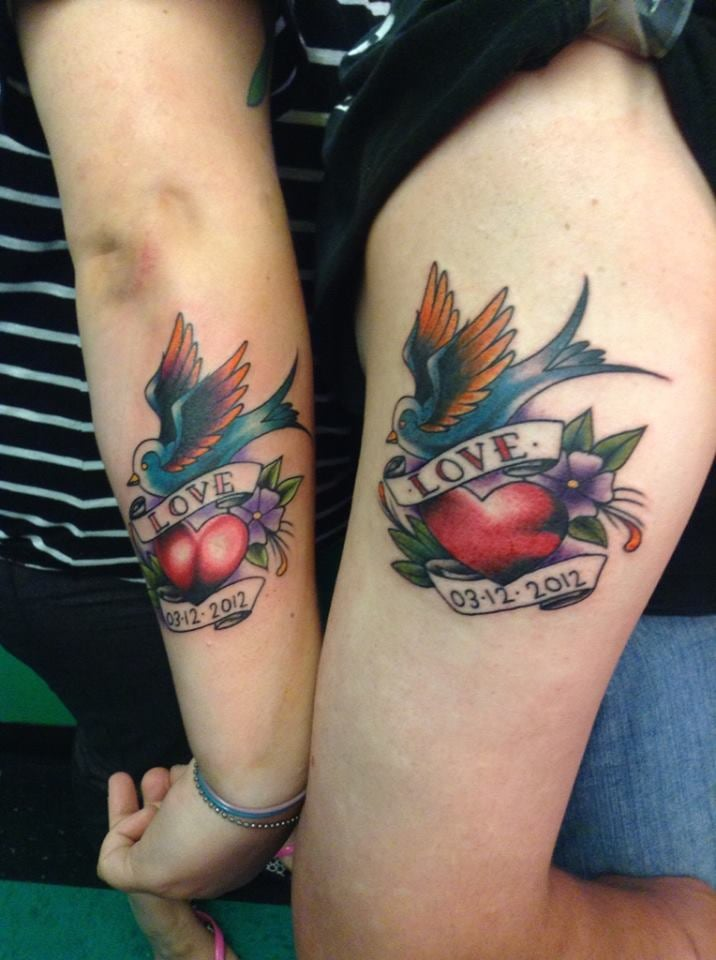My husband i 39 s matching tattoo 39 s with our wedding date for Jade dragon tattoo