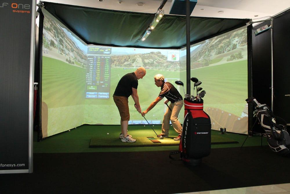 3 screen golf simulator golf room man cave golf for Indoor golf design