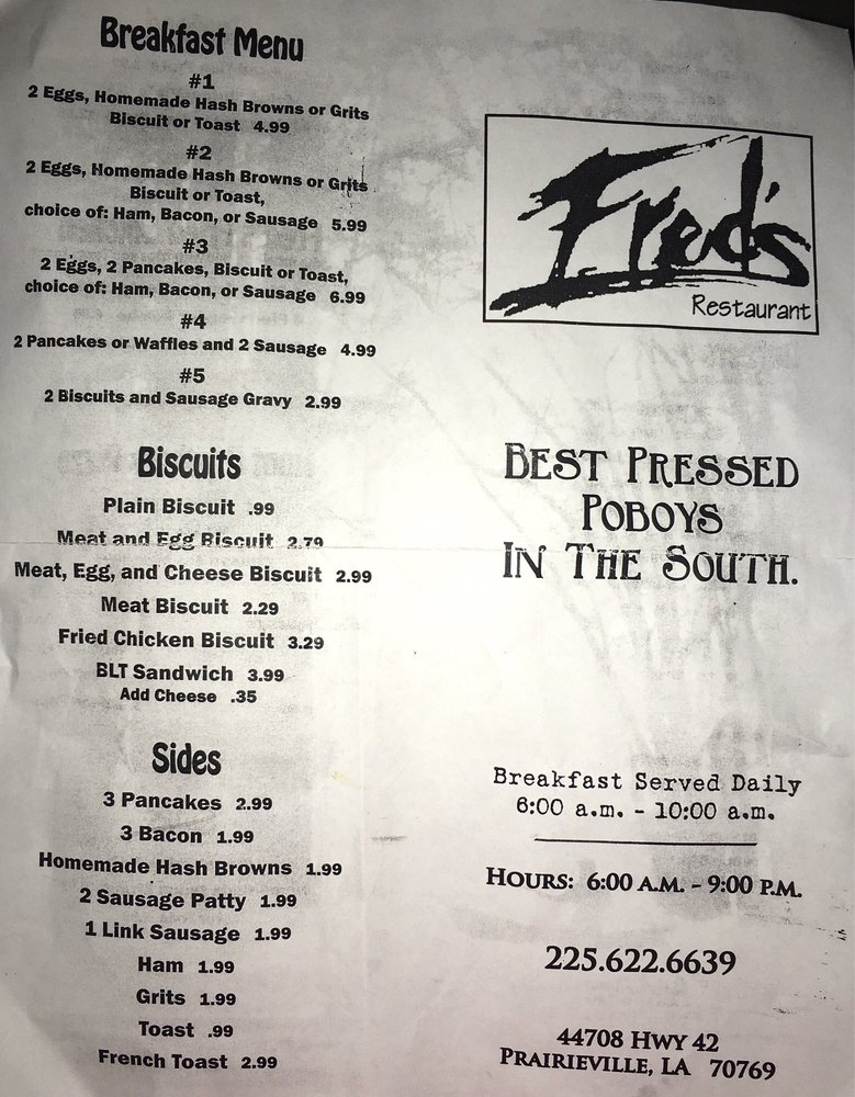 Fred's On the River: 18158 Rushing Rd, Prairieville, LA
