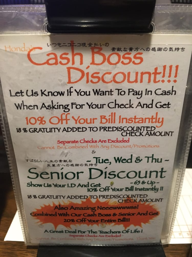 Cash boss discount pay cash and get 10 off your bill for Pay honda bill