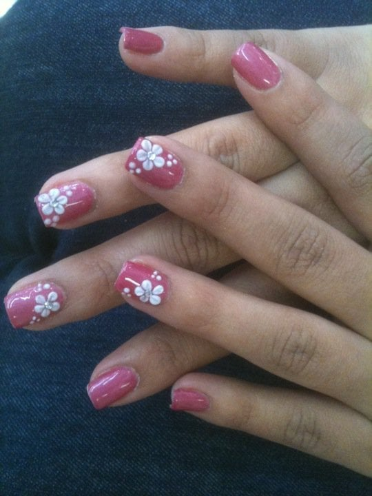 Manicure with Gelish nail polish and 3D Acrylic Flowers with ...