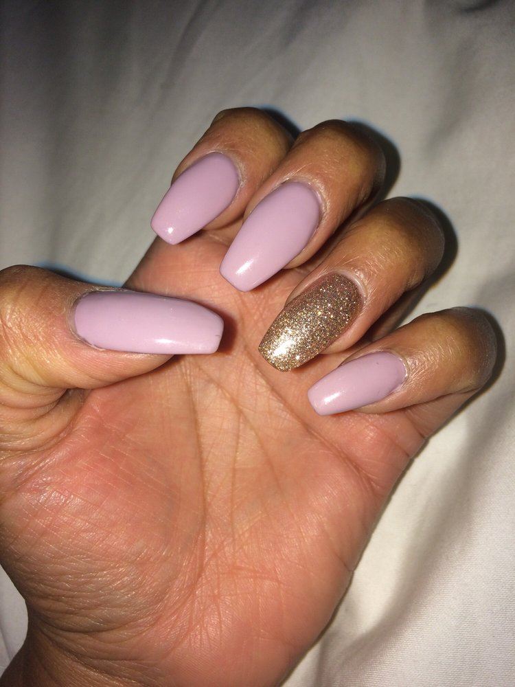 Set of coffin nails, UV mauve color with rose gold accent nail. - Yelp