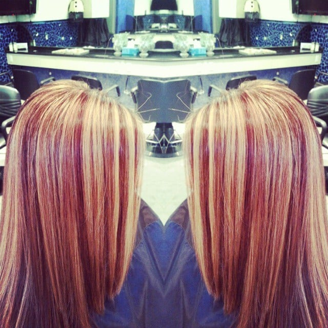 Hair By Devon Warm Base Color With Reddish Brown Lowlights And