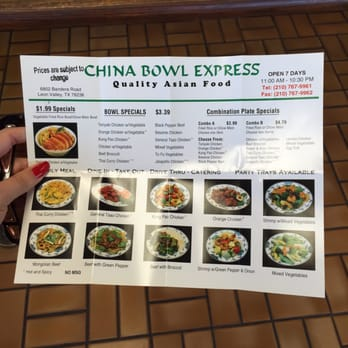 Photo of China Bowl Express - Leon Valley, TX, United States. Prices have