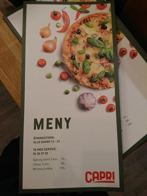 capri restaurant flatåsen meny