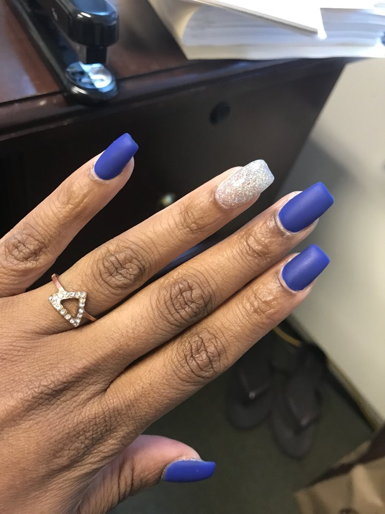 Matte blue acrylic with gel polish. - Yelp