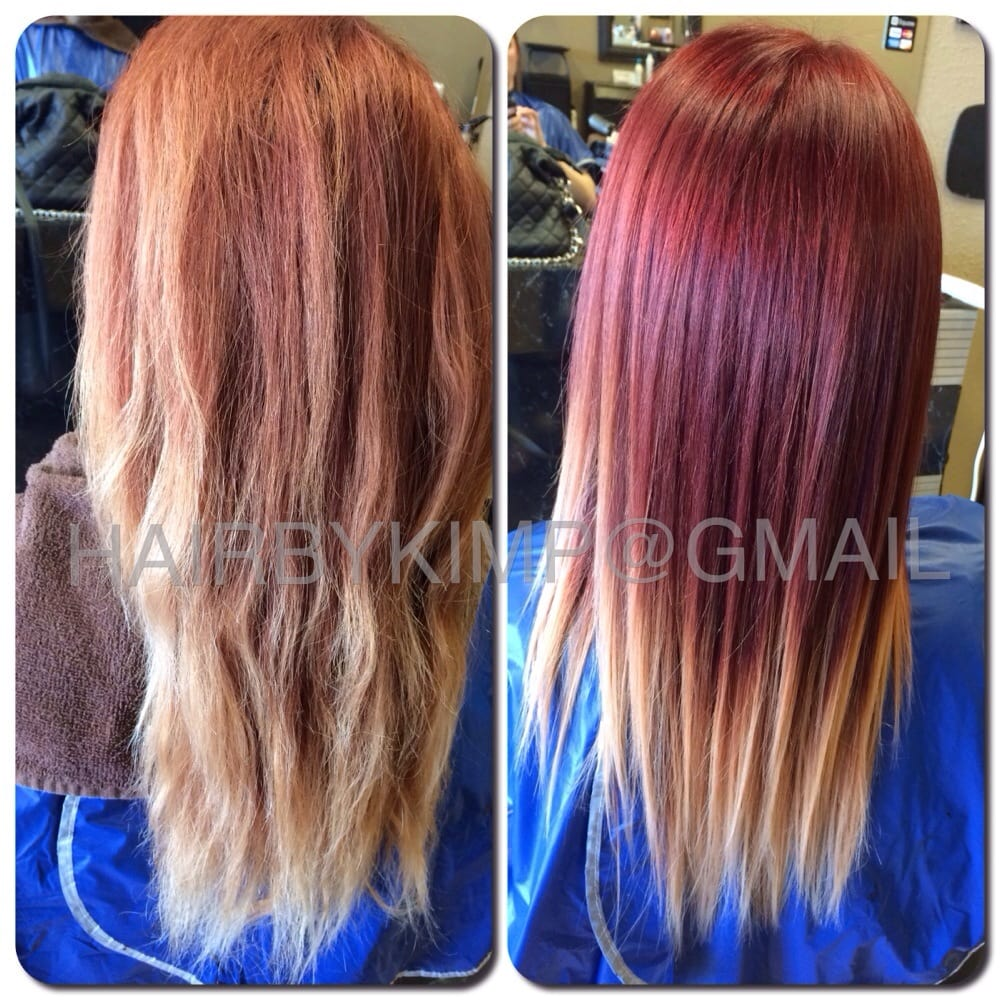 before u0026 after cut u0026 color ombre red blonde transition yelp