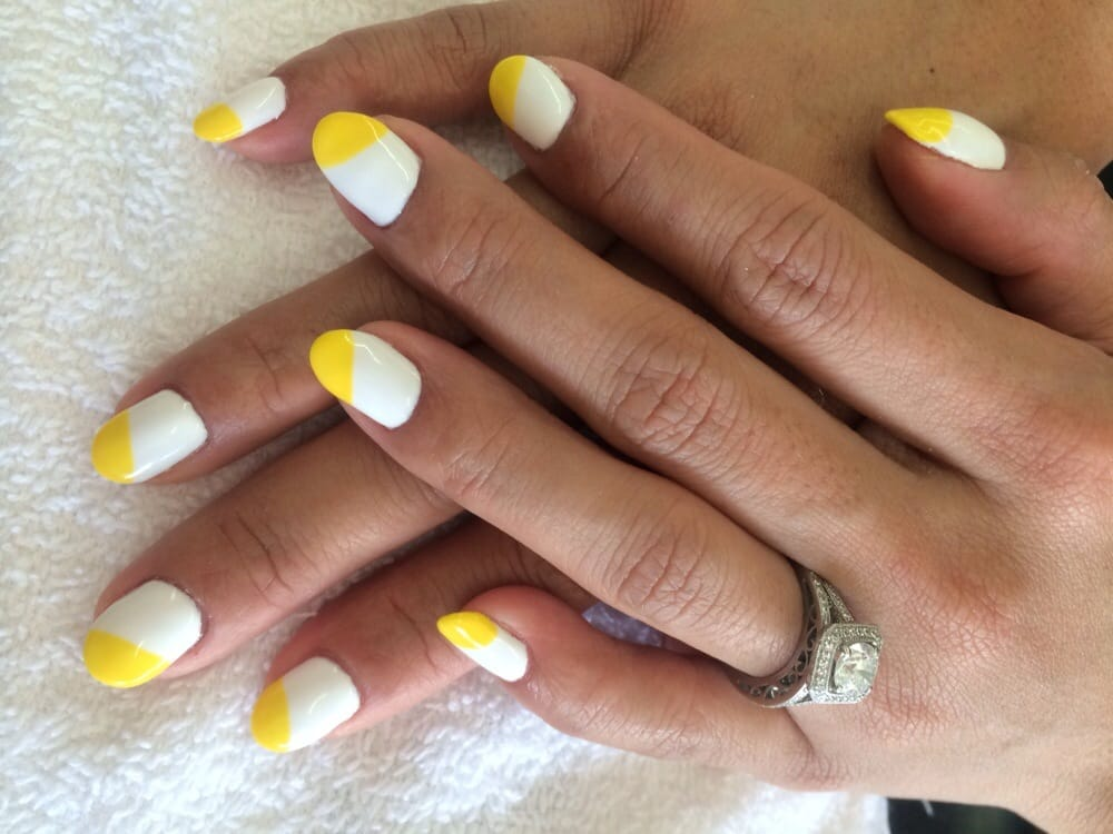 White yellow gel nail design yelp photo of hot nails salon canoga park ca united states white prinsesfo Gallery