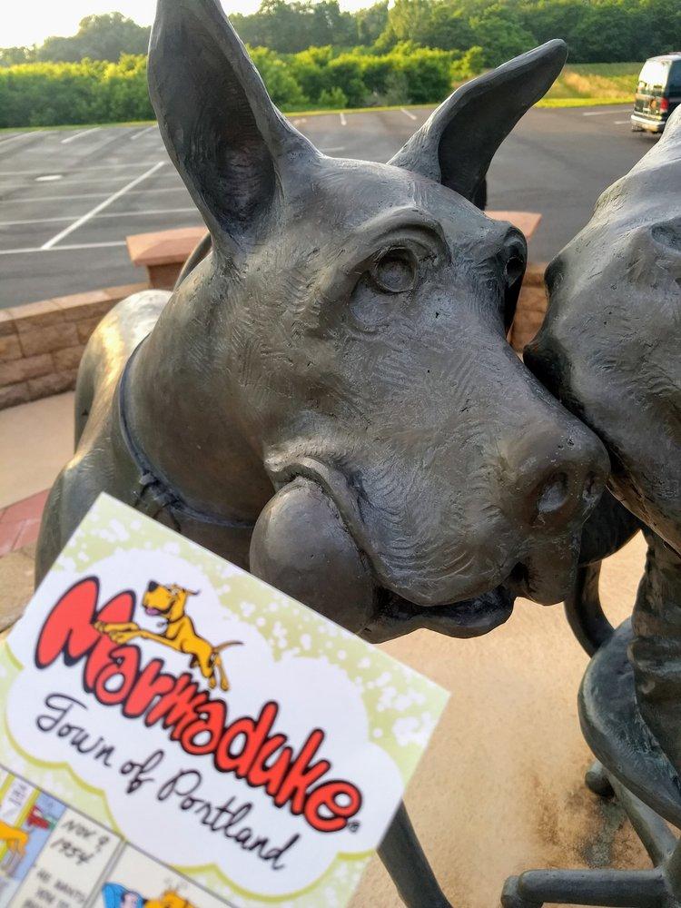Brad Anderson & Marmaduke Statue: 87 W Main St, Brocton, NY