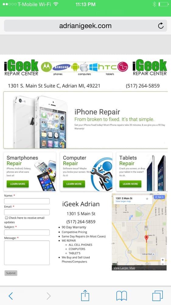 iGeek Repair Center: 1301 S Main St, Adrian, MI