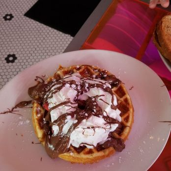 Photo Of Pink Miami Beach Fl United States Waffle With Nutella