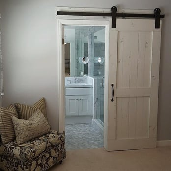 Distressed White Barn Door And Hardware For A Bathroom Yelp
