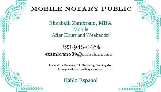 photo of ez notary public after hours weekends downey ca business card - Notary Business Cards