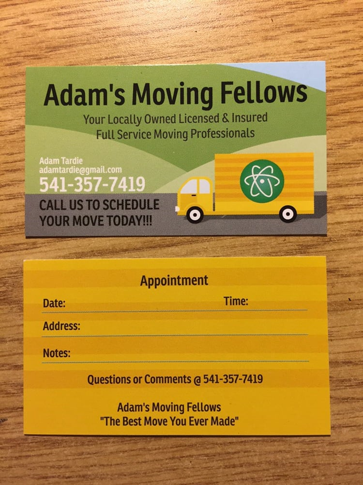 Our business cards yelp photo of adams moving fellows eugene or united states our business cards reheart Gallery