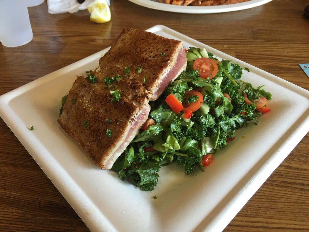 Kale salad with seared tuna yum yelp for Fish dish sherman oaks