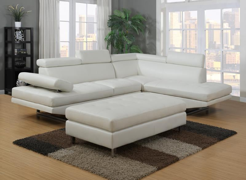 Ibiza White Bonded Leather Sectional Sofa And Ottoman Set ...
