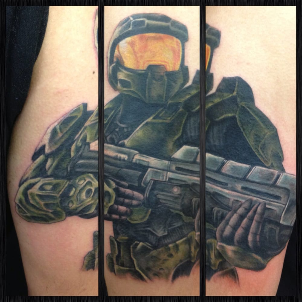 Awesome halo soldier full color tattoo by skott yelp for Tattoos by halo