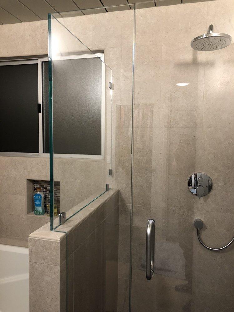 Shower enclosure set on porcelain walls. - Yelp