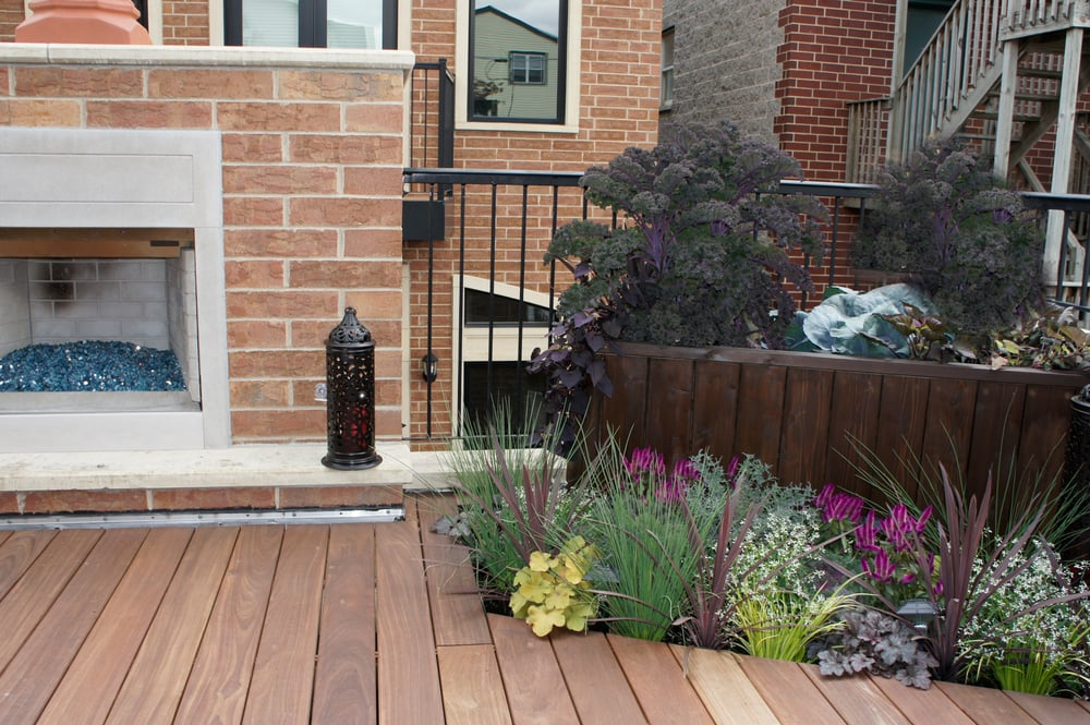 Ipe Deck With Tall Planter Box With Recessed Flower Box In