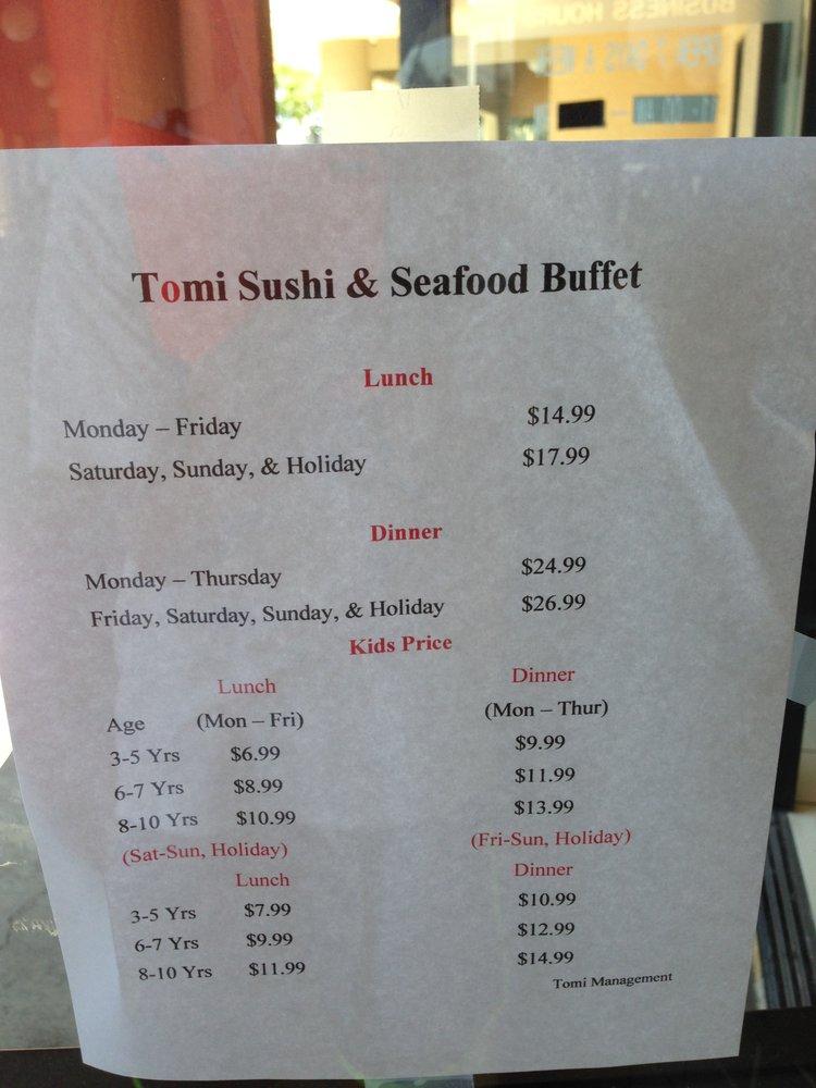 tomi sushi seafood buffet prices yelp rh yelp com tomi buffet price 2018 tomi sushi buffet san jose price