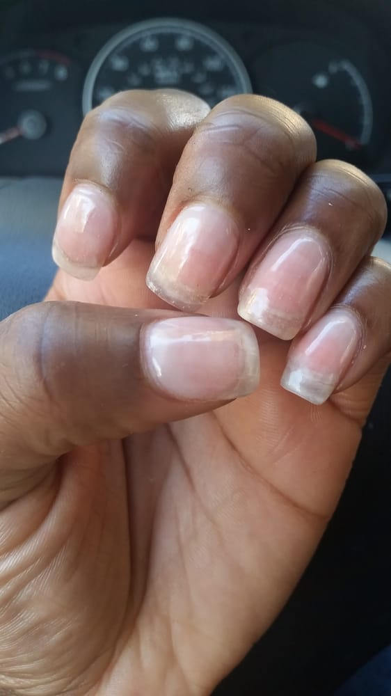 Nail removal then a full set of light pink acrylic nails with a gel ...