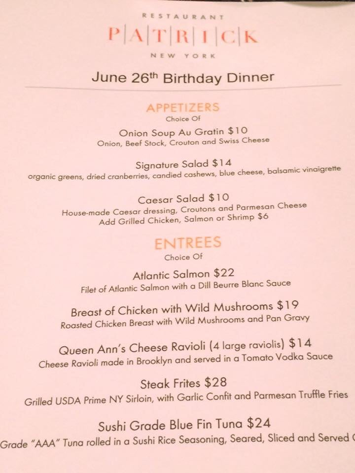 Photo Of Restaurant Patrick New York Ny United States Customized Dinner Menu