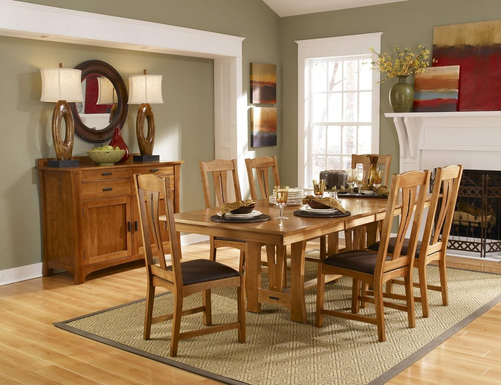 Solid Hickory Cattail Bungalow Dining Set Amber Finish