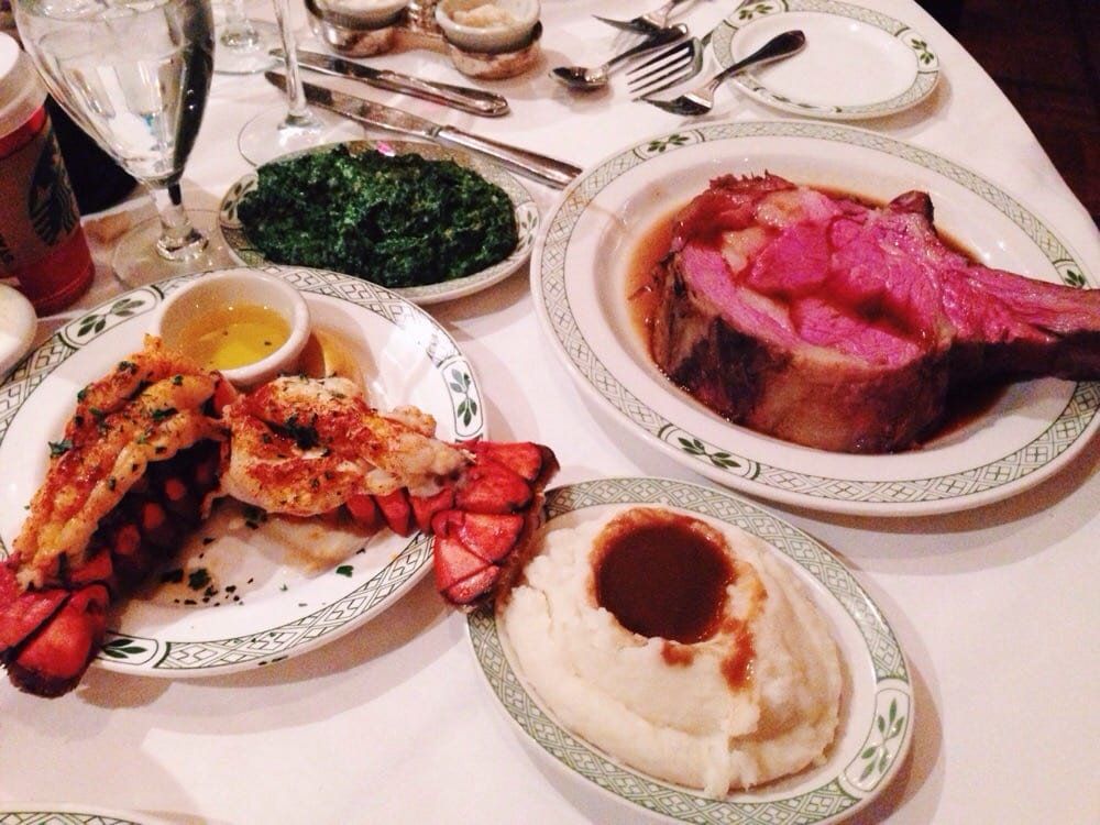 Lobster tail, 20oz prime rib, mashed potatoes, and creamed spinach
