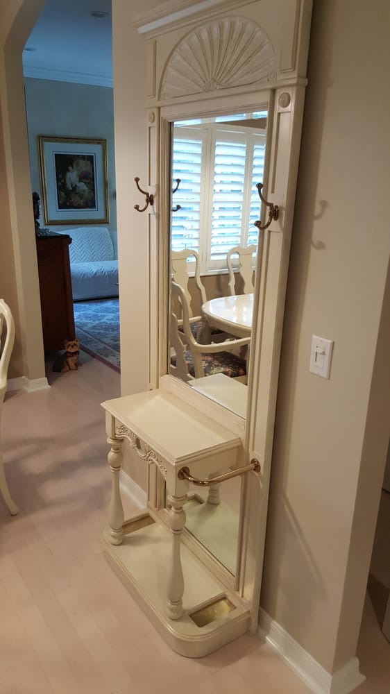 After Hall Tree Painted Custom White Lacquer Lightly Distressed And Finished Satin Yelp