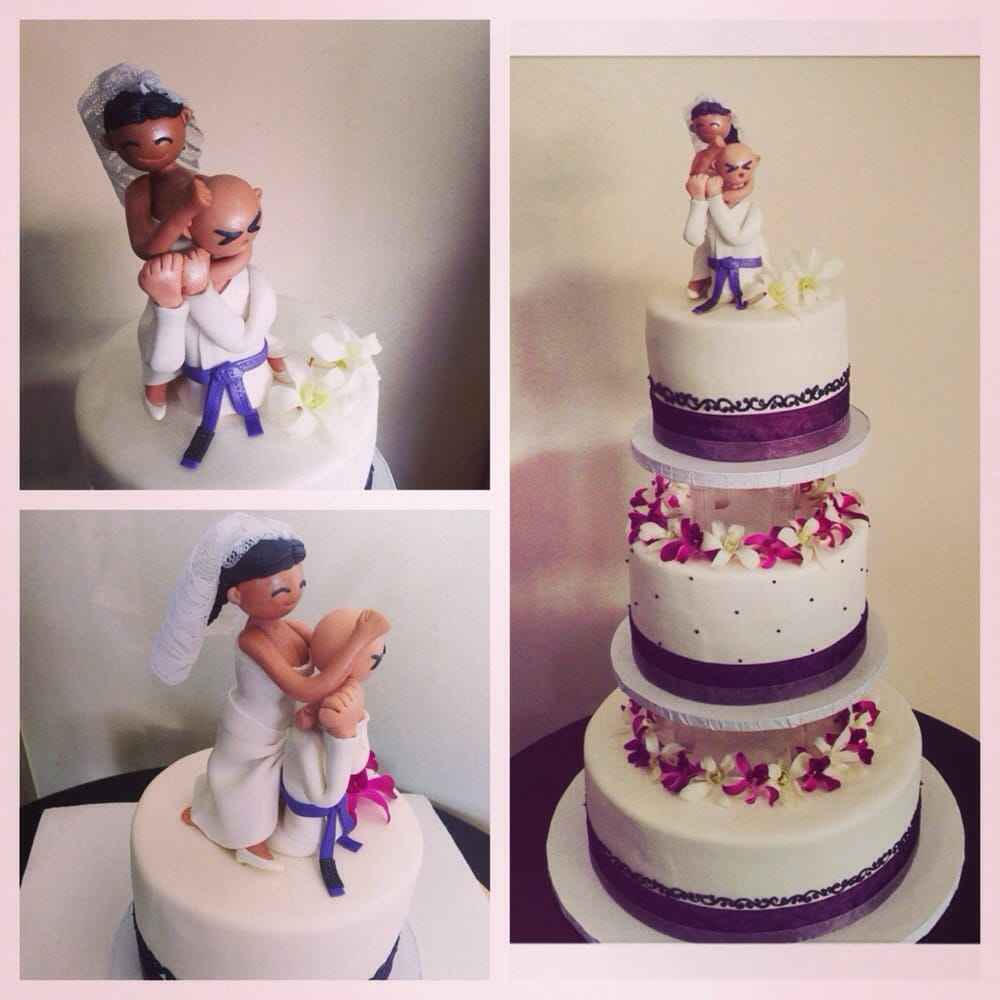 Custom Brazilian Jiu Jitsu Cake Topper On A Fondant Guava And - Pineapple Wedding Cake