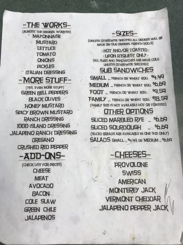 Menu Of Brown Bag Deli Restaurant