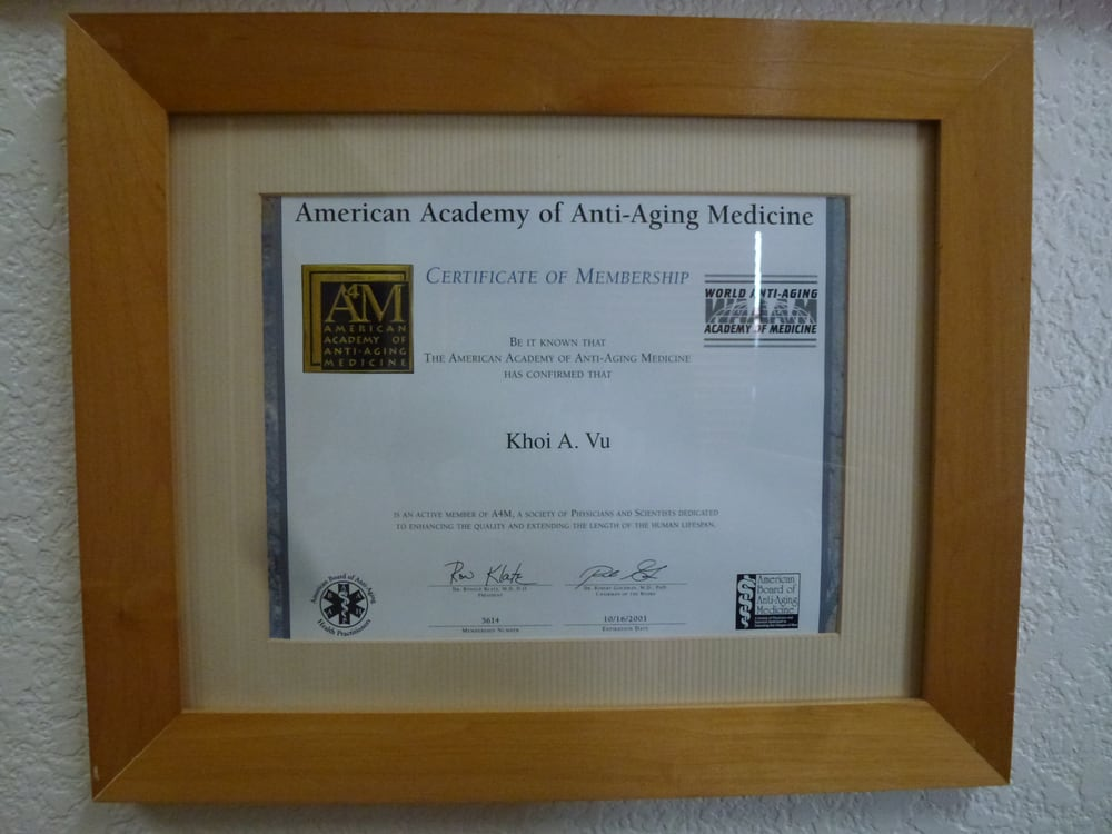 Membership certificate from the American Academy of Anti-Aging. - Yelp
