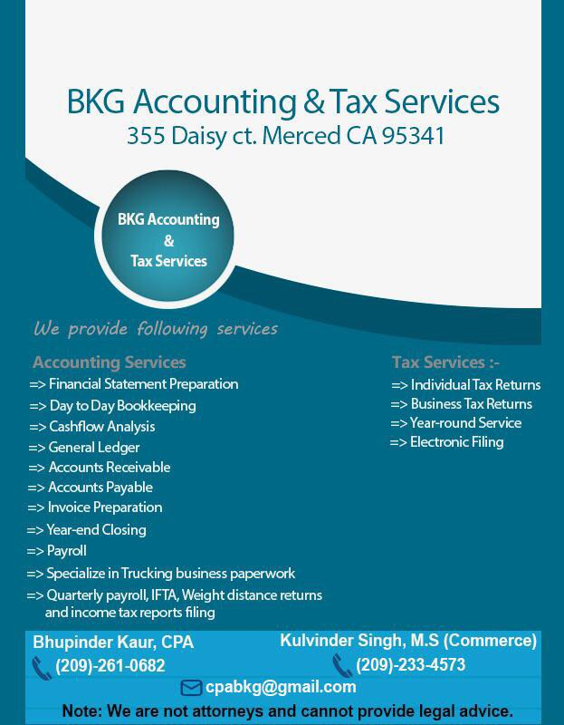 BKG Accounting & Tax Services: 355 Daisy Ct, Merced, CA