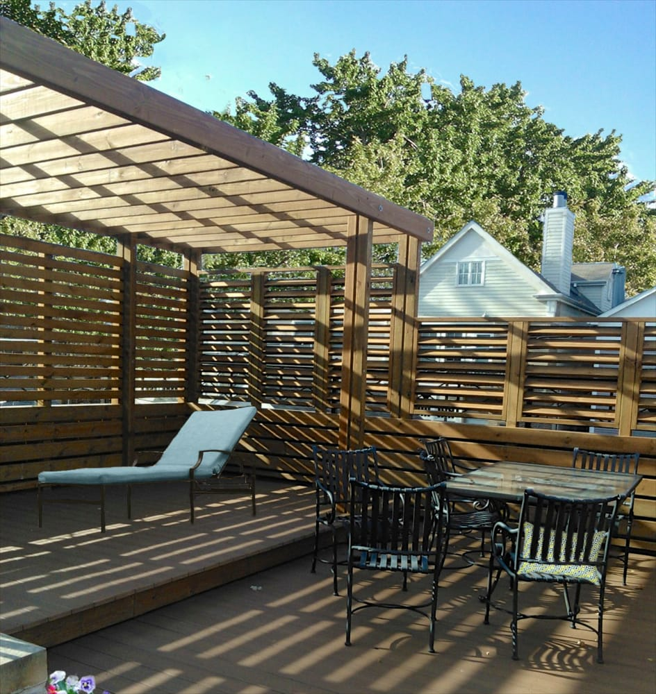 Lincoln park garage roof deck with contemporary pergola for Garage roof deck plans